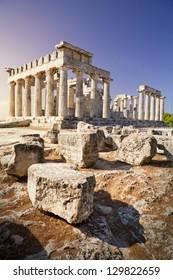 Aphaia temple on Aegina Island in Greece