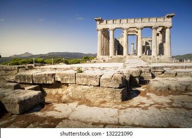 Aphaia temple, on Aegina island in Greece