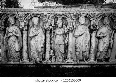 Aphrodisias (Afrodisias) Ancient City in Caria, Karacasu, Aydin, Turkey. Ancient gods relief on tomb. Aphrodisias was named after Aphrodite, the Greek goddess of love.