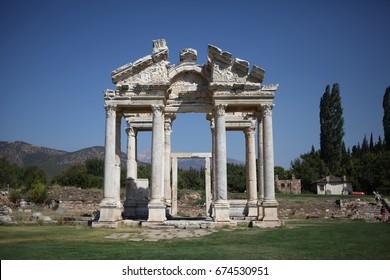 APHRODISIAS, TURKEY - SEPTEMBER, 09, 2012: Tetrapylon in Afrodisias, Aydin, Turkey