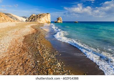 Aphrodite Beach on a sunny day. Paphos. Cyprus.