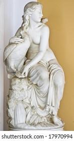 Aphrodite with a goose, Classic era statue of Greek origin. Achilleion palace, Corfu island, Greece
