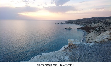 Aphrodites rock beach in Cyprus: A view on the beach of Aphrodite`s Rock, in Cyprus. a rock off the shore along the main road from Paphos to Limassol, has been regarded since ancient times as the birt