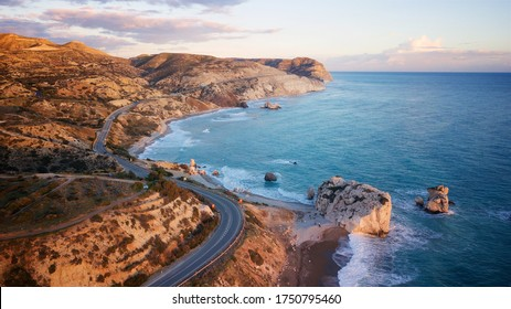 Aphrodite's Rock (Petra tou Romiou) on the coastline of Cyprus shot from a drone