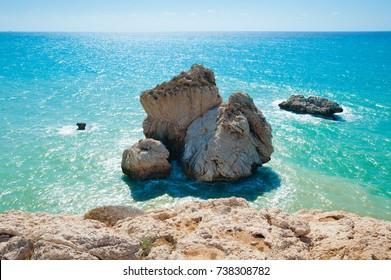Aphrodite's rock or Venus rock, Petra tou Romiou, Cyprus, Pafos district
