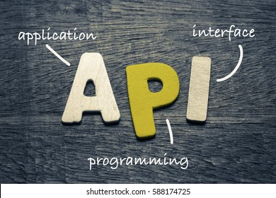 API (application program interface) on wood background