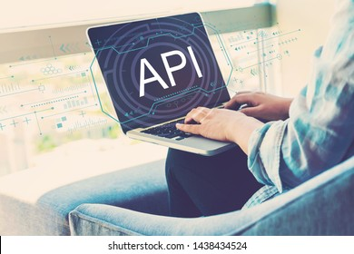API concept with woman using her laptop in her home office