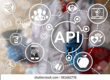 API healthcare medicine iot integration web computer concept. Doctor touched application programming interface acronym word icon on virtual screen. Health care smart robotic internet technology