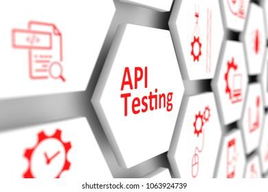 API testing concept cell blurred background 3d illustration
