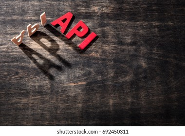API word made from wooden letters on wood , the shadow word API