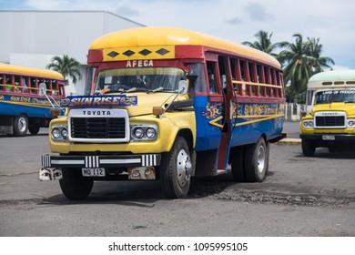 Apia, Samoa - October 30, 2017: Vintage Toyota buses at Apia bus station on Upolu Island