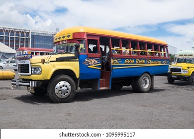 Apia, Samoa - October 30, 2017: Vintage Toyota buses at Apia bus station on Upolu Island