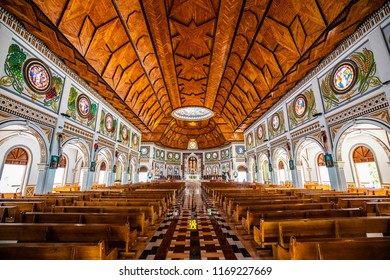Apia, Samoa - SEPT 30 2016: Interior of the cathedral of the immaculate conception in Apia, capital of Samoa.