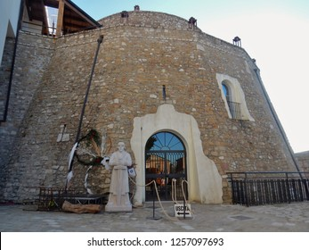 Apice, Benevento, Campania, Italy - December 2018: View of the Ettore Castle overlooking the ghost town of Apice Vecchia