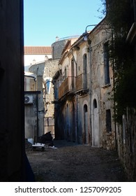 Apice, Benevento, Campania, Italy - December 2018: View of the alley of the ghost village of Apice Vecchia