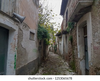 APICE VECCHIO, ITALY - 03 DECEMBER 2018: a street with abandoned houses in Apice Vecchio, province of Benevento.