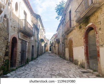 APICE VECCHIO, ITALY - 08 JULY 2018: a street with abandoned houses in Apice Vecchio, province of Benevento.