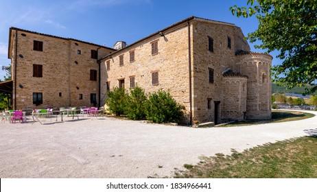 Apiro, Macerata, Italy - September 19, 2020: Abbey of Sant'Urbano.
