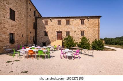 Apiro, Macerata, Italy - September 19, 2020: Abbey of Sant'Urbano, exterior view.