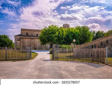 Apiro, Macerata, Italy - September 19, 2020: Abbey of Sant'Urbano, panoramic view