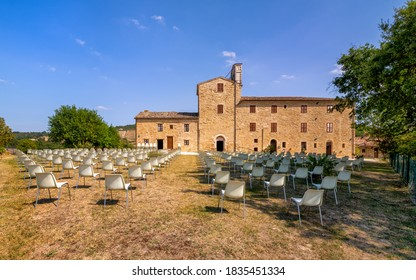 Apiro, Macerata, Italy - September 19, 2020: Abbey of Sant'Urbano, panoramic view.