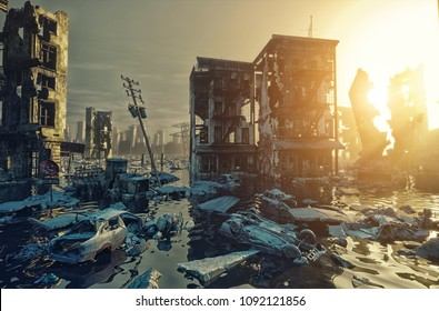 Apocalypse flooding city view sunset. 3d rendering concept
