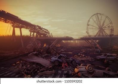 Apocalypse sunset landscape. 3D rendering concept