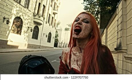 Apocalypse. Vampire kills soldiers.