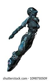 apocalyptic astronaut girl exploring around 3d illustration