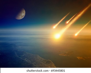 Apocalyptic background -  asteroid impact, end of world, judgment day. Group of burning exploding asteroids approaches to surface of planet Earth. Elements of this image furnished by NASA