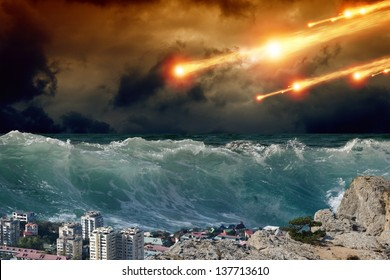 Apocalyptic background - giant tsunami waves, small coastal town, city, asteroid impact