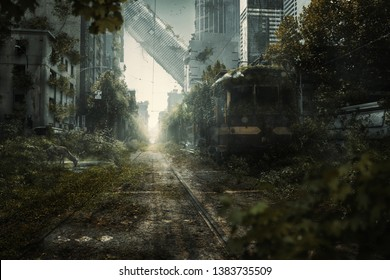 Apocalyptic city scene with lost skyscrapers