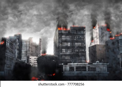 Apocalyptic cityscape. Digital illustration.