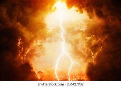 Apocalyptic dramatic background - bright lightning in dark red stormy sky, judgment day