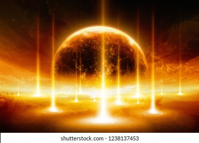 Apocalyptic dramatic background - end of the world, battle of armageddon, forces of evil destroy humanity. Mixed media image. Elements of this image furnished by NASA