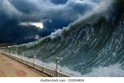 Apocalyptic dramatic background - giant tsunami waves, dark stormy sky