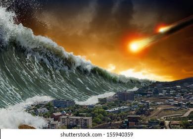 Апокалиптический драматический фон - гигантские волны цунами разбиваются небольшой прибрежный город, удар астероида, конец света