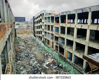 Apocalyptic looking abandoned factory warehouse in Detroit, Michigan - landscape color photo
