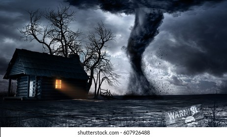 Apocalyptic scenery with old wooden house and tornado. 3D illustration