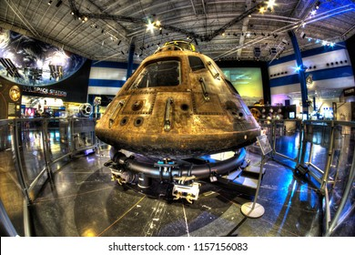 "The Apollo 11 Command  Module ""Columbia"" on display at Space Center Houston.  July 2019 will be the 50th Anniversary of man landing on the moon. Photo taken on March 11, 2018 at Space Center Houston,"