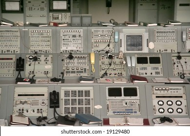 Apollo 1960s mission control equipment on display in Kennedy Space Center