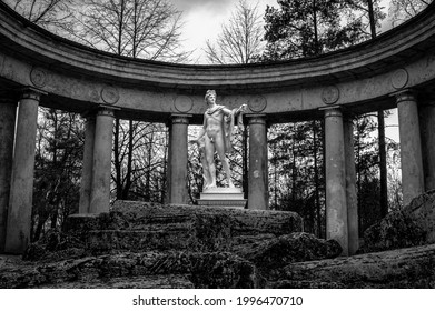 Apollo Belvedere colonnade in the town of Pavlovsk, Russia. Charles Cameron, 1783. Black and white. - Shutterstock ID 1996470710