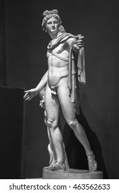Apollo Belvedere statue. This sculpture is marble copy of lost bronze original made by Greek sculptor Leochares.