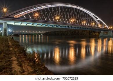 Apollo Bridge in the night, Bratislava Slovakia - Shutterstock ID 751072825