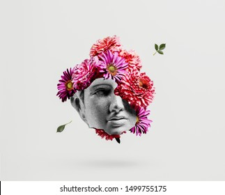 Apollo head with flower background concept.