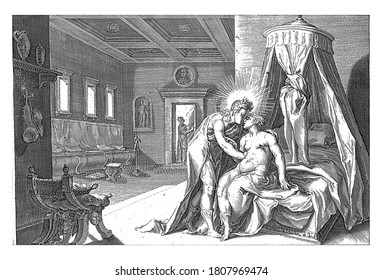 Apollo seduces Leucothea, Hendrick Goltzius (workshop of), after Hendrick Goltzius, 1728 Apollo (or Helios) embraces Leucothea, sitting on her bed. They are spied at the door, vintage engraving.