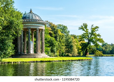 The Apollo Temple (Apollotempel) located next to  the Badenburger See in the Nymphenburg Palace gardens. The palace is a famous attraction in Munich, Bavaria, Germany.