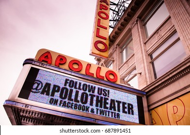 The Apollo Theater is the famous landmark in Harlem district of New York. Photo shot on Feb 9, 2015.