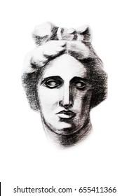 Apollo's head, hand drawn illustration