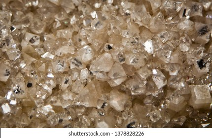 Apophyllite Zinc, Full frame macro close up of crystals of Apophyllite Zinc. Crystalline mineral background texture.